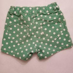 Mini Boden Heart Shorts, Green Polka Dot, 7 yrs
